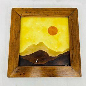 Vintage Layered Fused Glass Setting Sun Sailboat